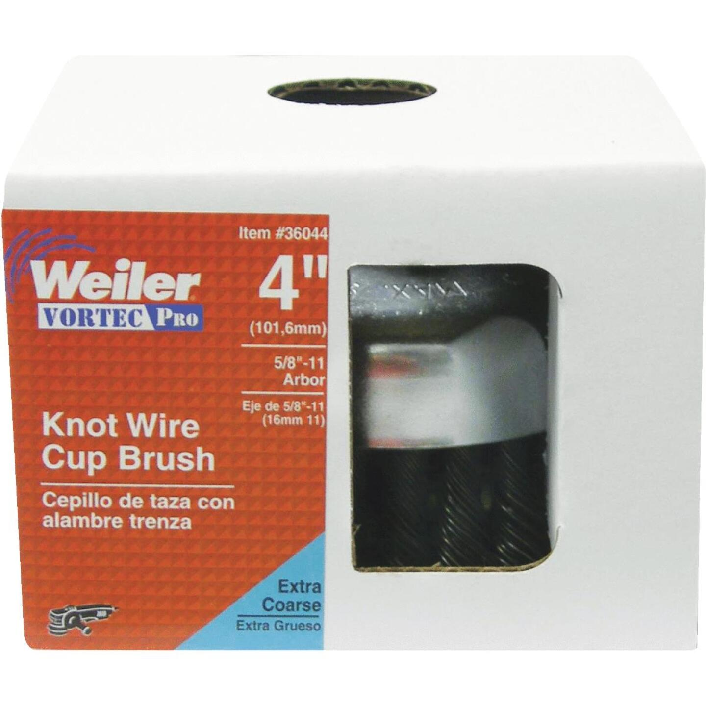 Weiler Vortec 4 In. Knotted 0.02 In. Angle Grinder Wire Brush Image 2