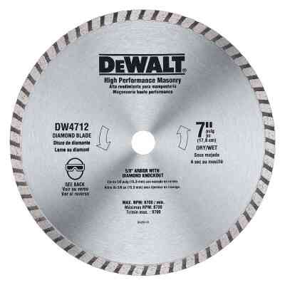 DeWalt High Performance 7 In. Turbo Rim Dry/Wet Cut Diamond Blade, Bulk