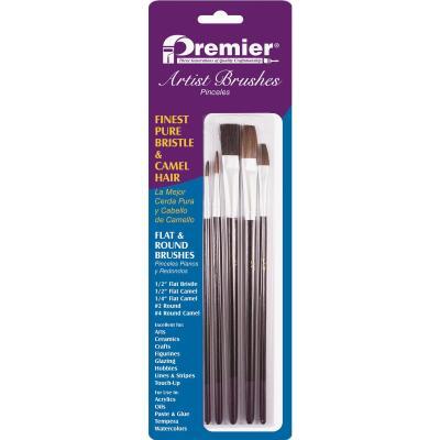 Premier Assorted Bristle & Camel Hair Artist Brushes (5-Pieces)